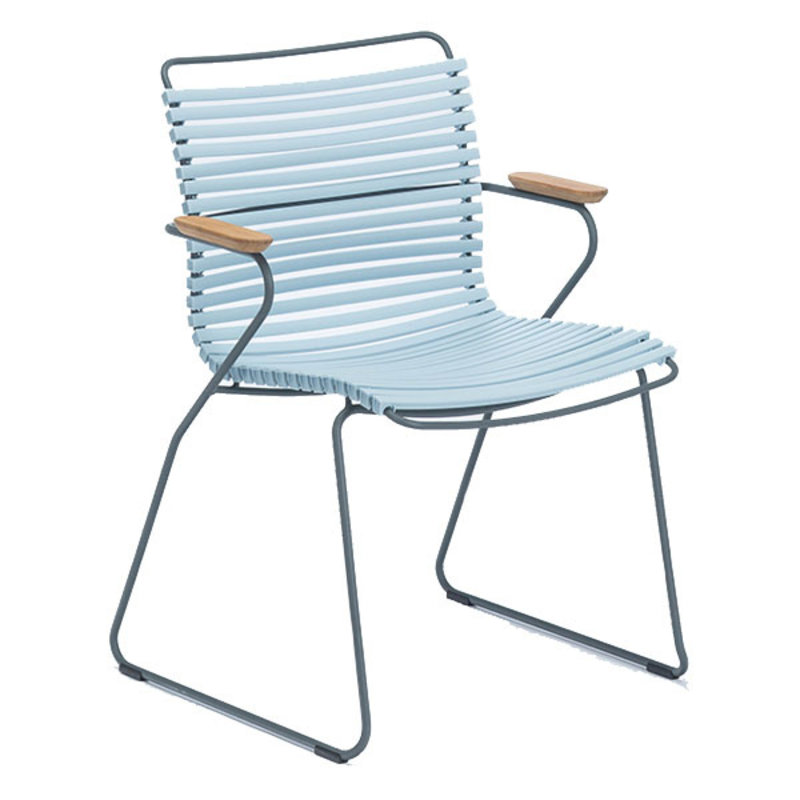Houe-collectie CLICK Dining Chair with Armrests in bamboo dusty light blue