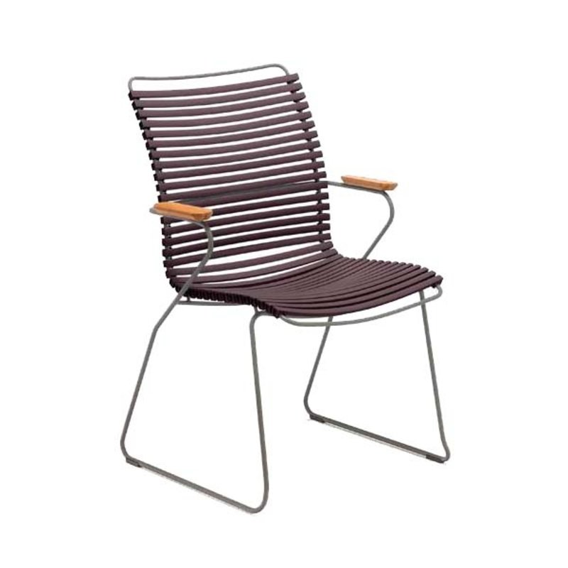 Houe-collectie CLICK Dining Chair Tall with Armrests in bamboo plum