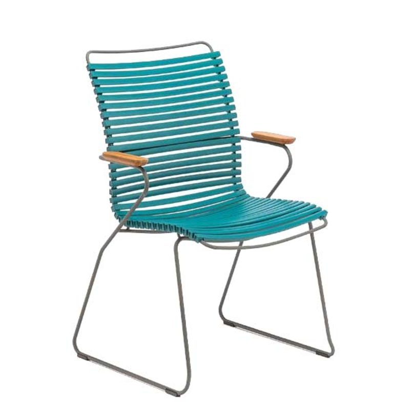 Houe-collectie CLICK Dining Chair Tall with Armrests in bamboo petrol