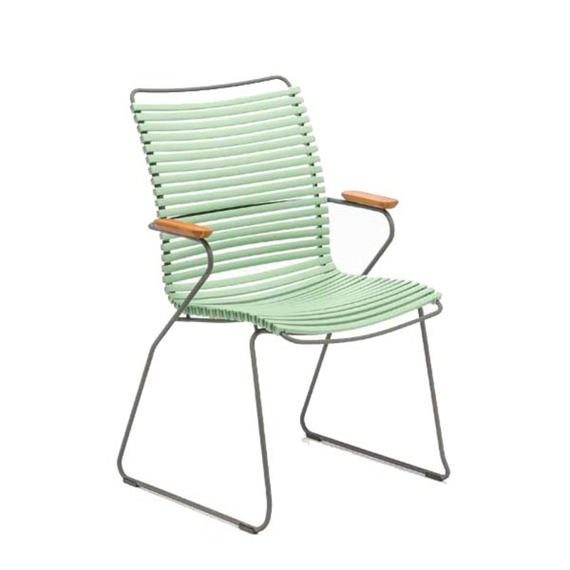 Houe-collectie CLICK Dining Chair Tall with Armrests in bamboo dusty green