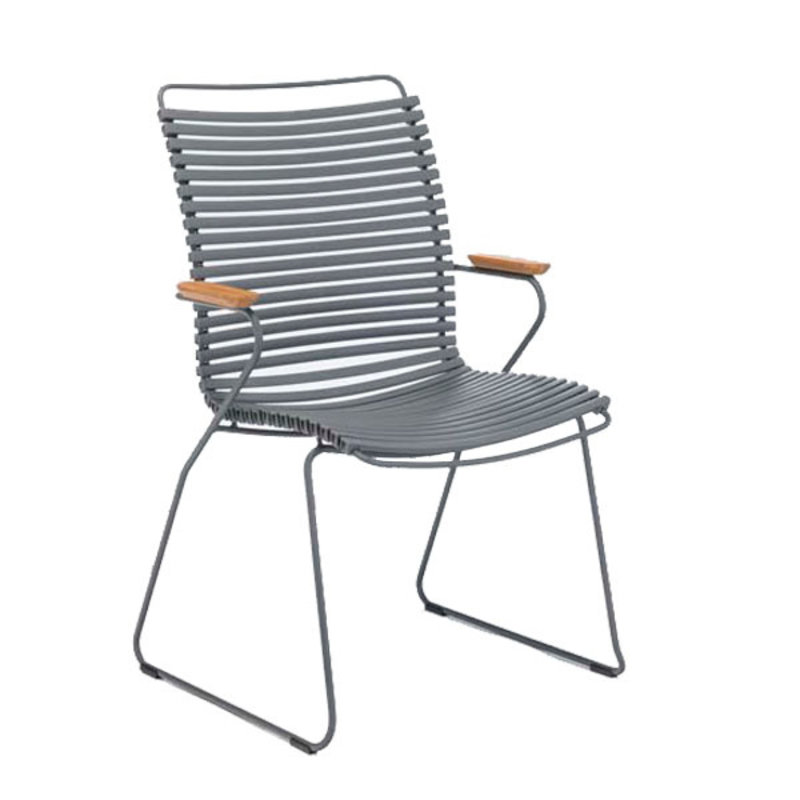 Houe-collectie CLICK Dining Chair Tall with Armrests in bamboo Dar Grey