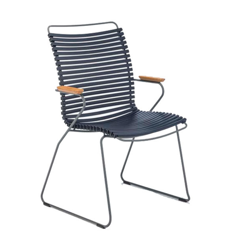 Houe-collectie CLICK Dining Chair Tall with Armrests in bamboo Dark blue