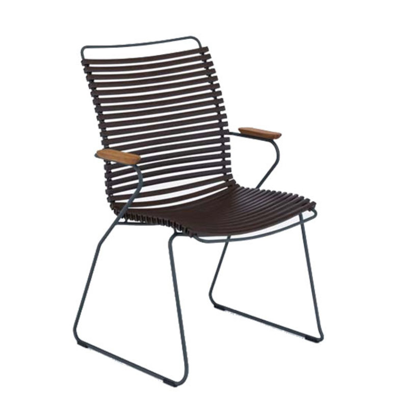 Houe-collectie CLICK Dining Chair Tall with Armrests in bamboo dark brown