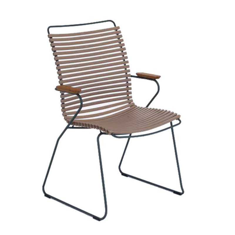Houe-collectie CLICK Dining Chair Tall with Armrests in bamboo sand