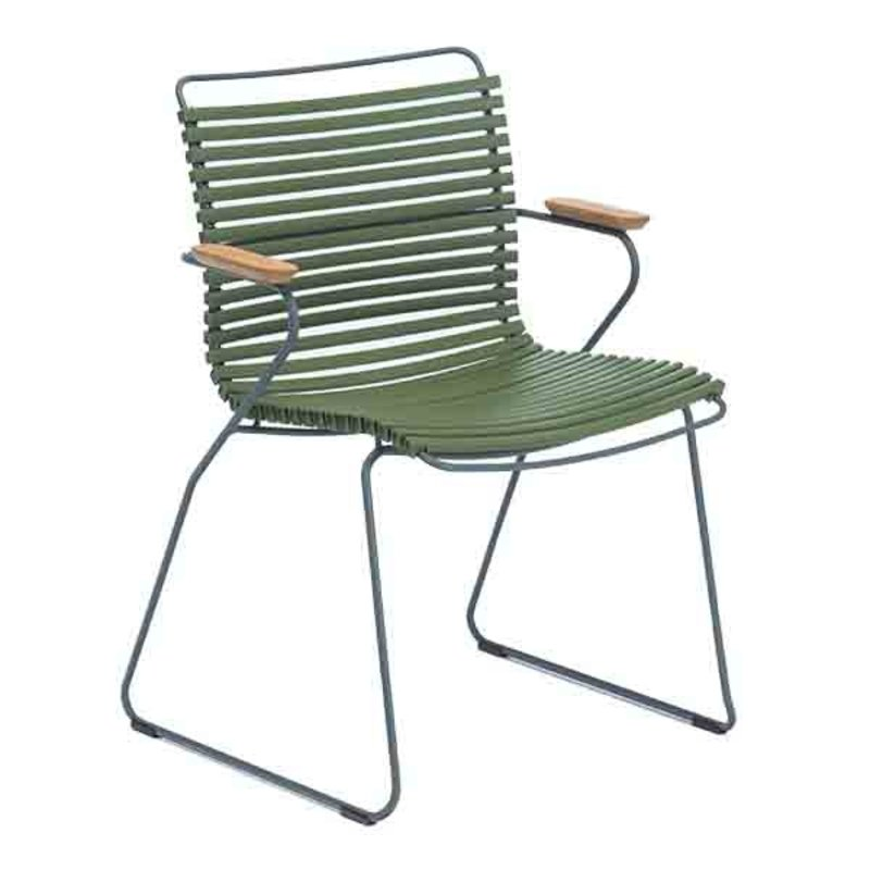 Houe-collectie CLICK Dining Chair with Armrests in bamboo olive green