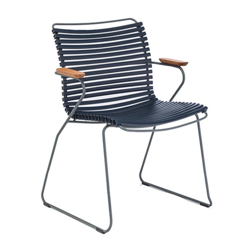 Houe-collectie CLICK Dining Chair with Armrests in bamboo  dark blue