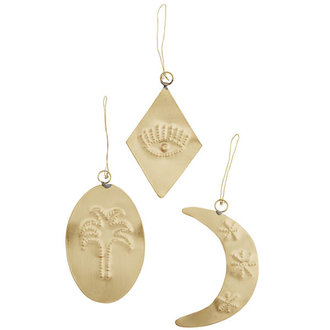 Madam Stoltz Set 3 Hanging brass ornaments