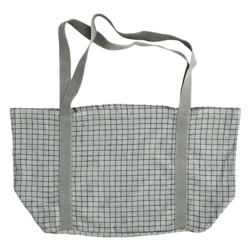 Madam Stoltz-collectie Checked linen tote bag
