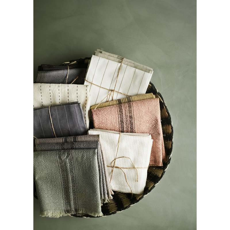 Madam Stoltz-collectie Striped kitchen towel w/ fringes