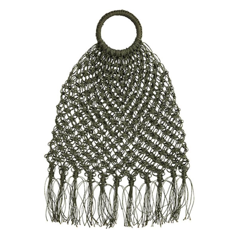 Madam Stoltz-collectie Jute macrame bag w/ fringes