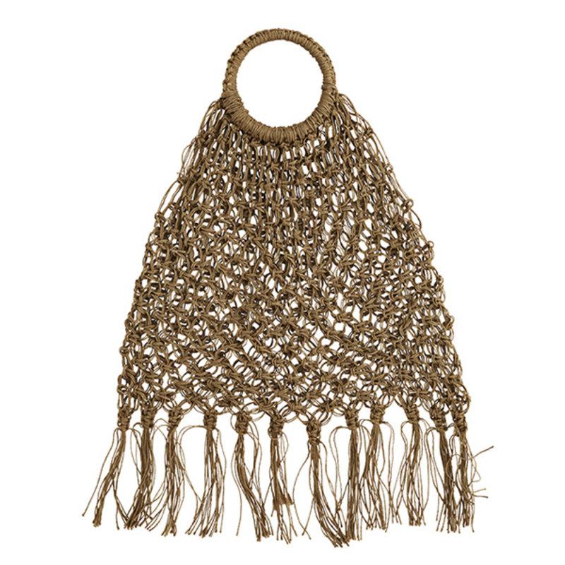 Madam Stoltz-collectie Jute macrame tas met franjes naturel