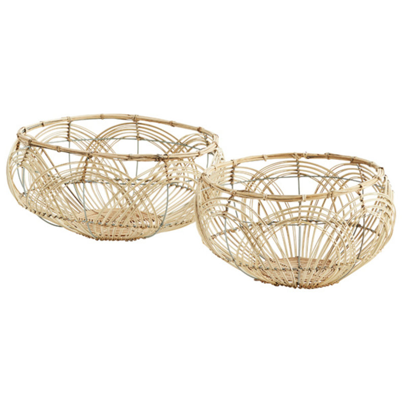 Madam Stoltz-collectie Round rattan baskets
