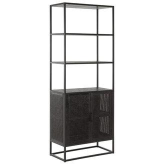 MUST Living Boekenkast met 2 deurtjes zwart webbing