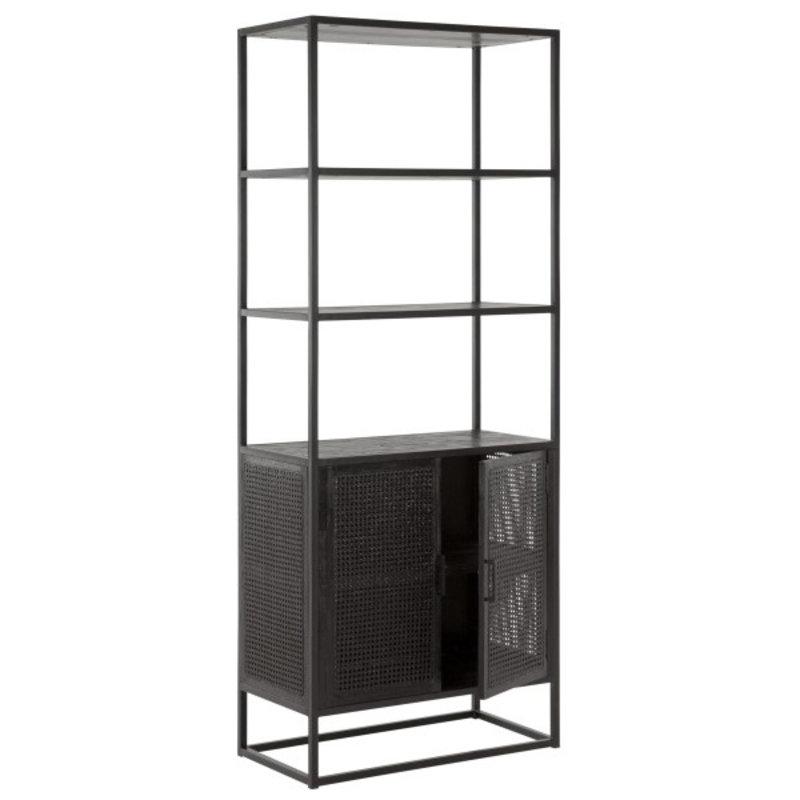MUST Living-collectie Boekenkast met 2 deurtjes zwart webbing