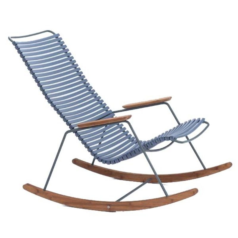 Houe-collectie CLICK Rocking Chair with Pigeon blue lamellas