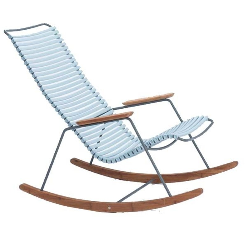 Houe-collectie CLICK Rocking Chair with Dusty Light blue lamellas