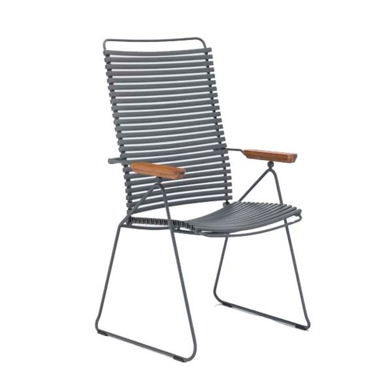 Houe-collectie CLICK Position Chair with armrests in bamboo Donkergrijs