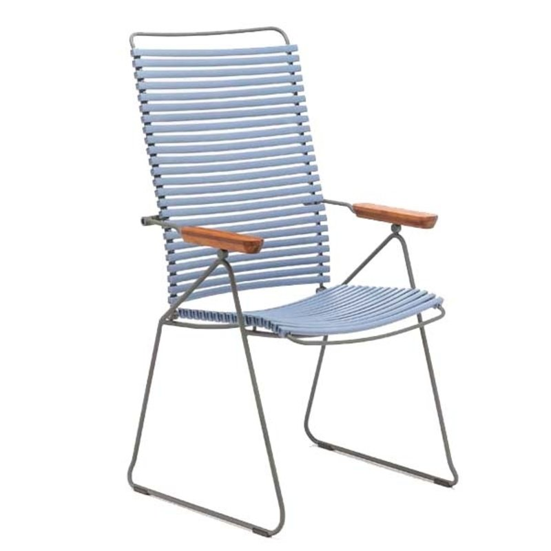 Houe-collectie CLICK Position Chair with armrests in bamboo Pigeon blue