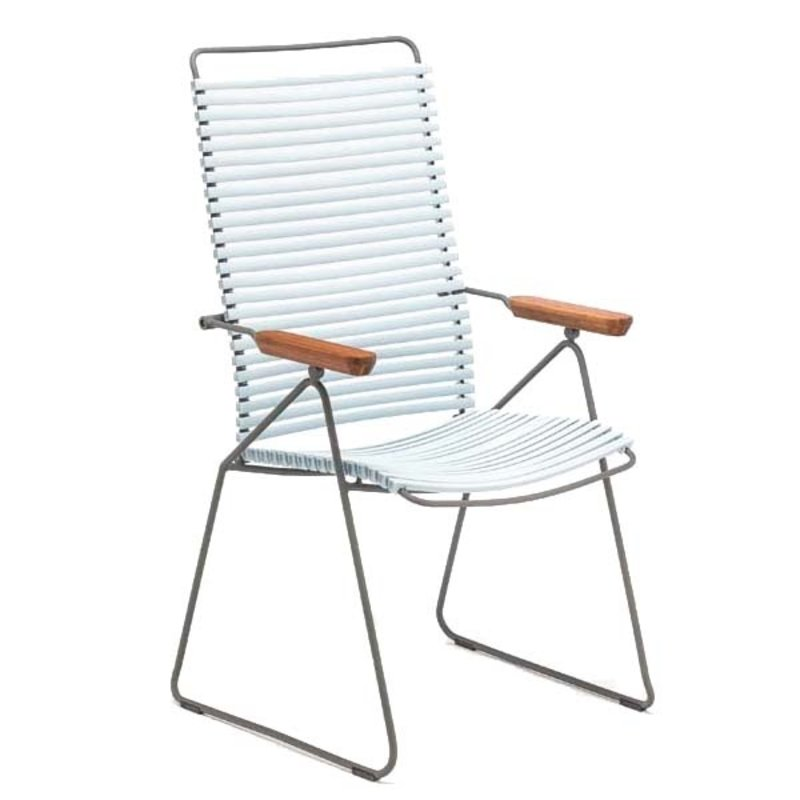 Houe-collectie CLICK Position Chair with armrests in bamboo Dusty light blue