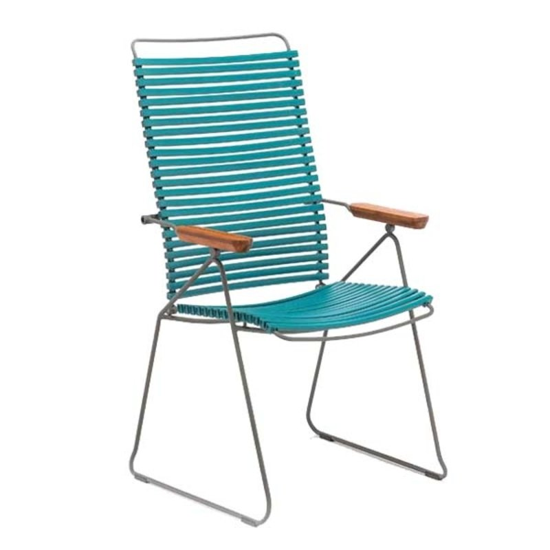 Houe-collectie CLICK Position Chair with armrests in bamboo Petrol