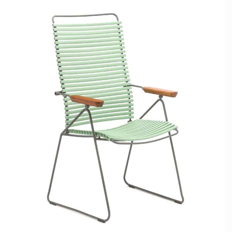 Houe-collectie CLICK Position Chair with armrests in bamboo Dusty light green