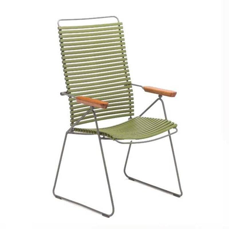 Houe-collectie CLICK Position Chair with armrests in bamboo Olive green