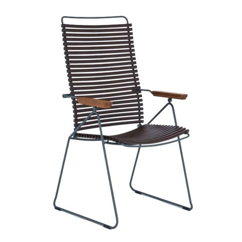Houe-collectie CLICK Position Chair with armrests in bamboo Dark brown