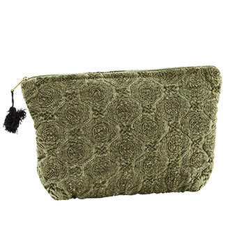Madam Stoltz Embroidered linen toilet bag w/ tassel Olive