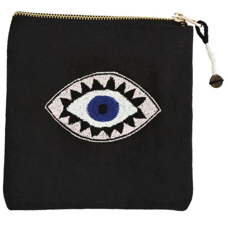 Madam Stoltz-collectie Embroidered cotton purse w/ eye print and tassel Black