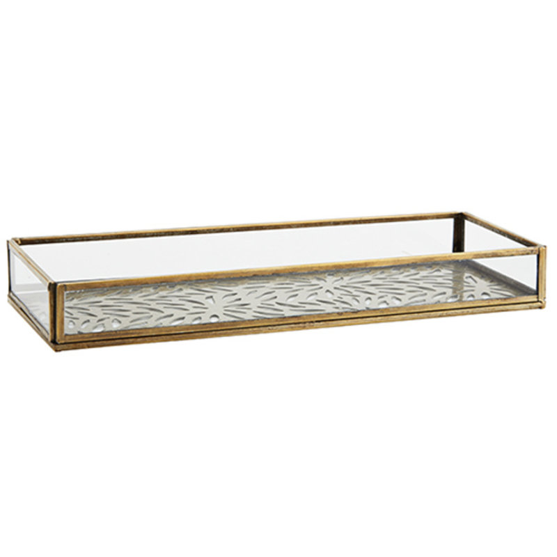 Madam Stoltz-collectie Rectangular glass tray w/ carvings Aged brass, clear