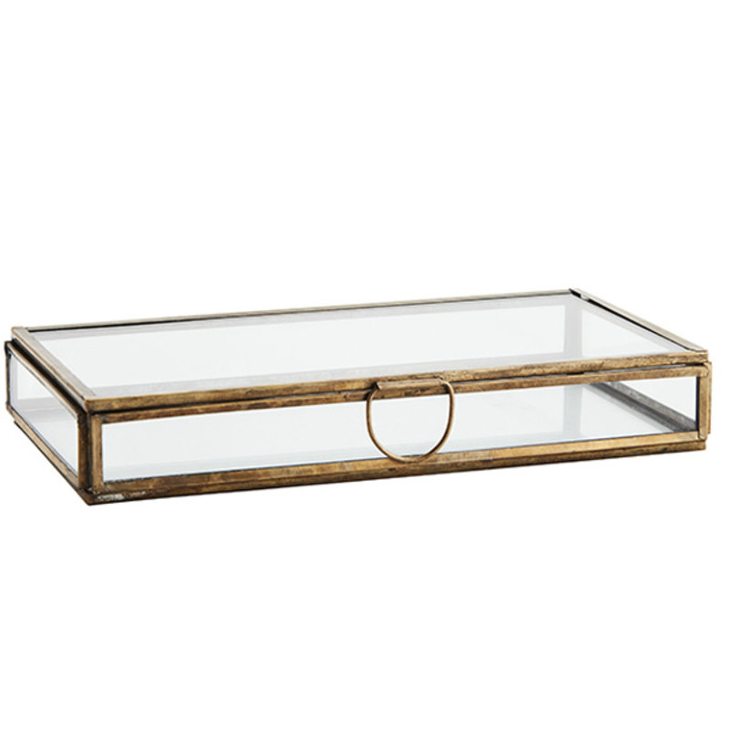 Madam Stoltz-collectie Glazen box aged brass 21x10x3 cm
