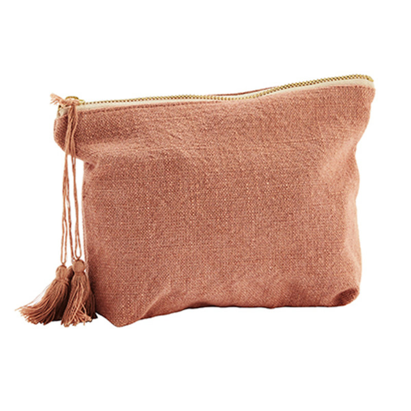 Madam Stoltz-collectie Cotton toilet bag w/ tassels Koraal