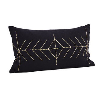 Madam Stoltz Embroidered cushion cover with tassels dark blue - Copy