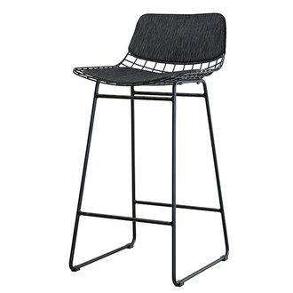 HKliving Wire barkrukcomfort dark grey - zwart