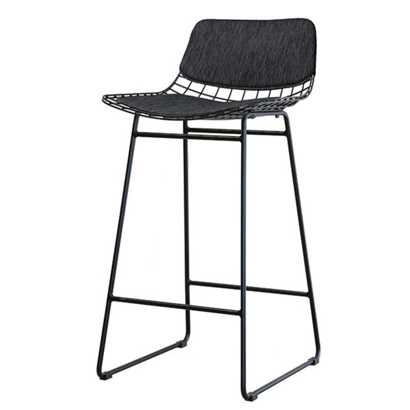 HKliving-collectie wire bar stool comfort kit dark grey - black