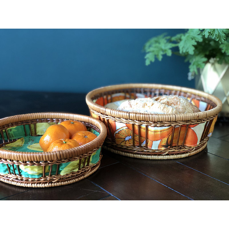 DEENS LOVES-collectie Vintage wicker basket with 1970s print orange Large