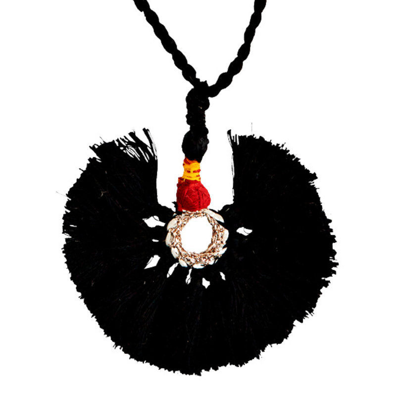 Madam Stoltz-collectie Ketting tassel zwart , burned orange
