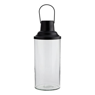 Madam Stoltz Glass lantern w/ black top