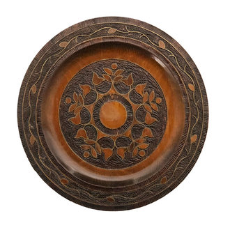 DEENS LOVES Vintage wooden plate  with woodcut