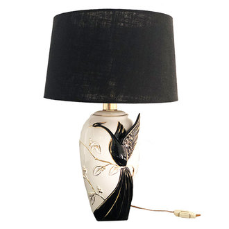 DEENS LOVES Vintage lamp with crane bird with black linen shade