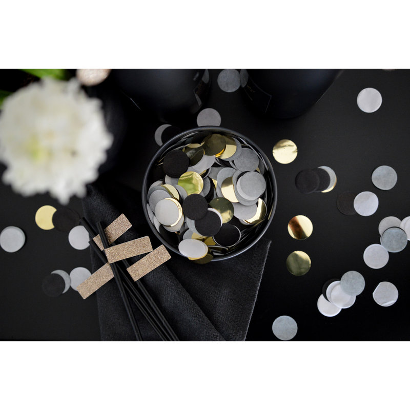 Delight Department-collection Black straws with gold stickers
