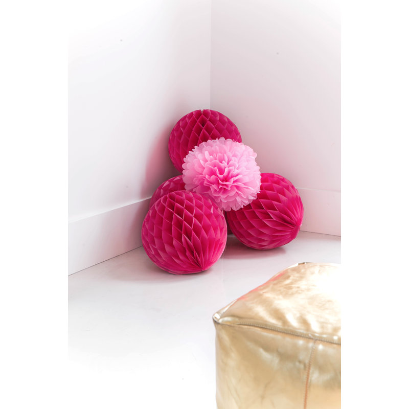 Delight Department-collection Fuchsia honeycomb ball - set of 2