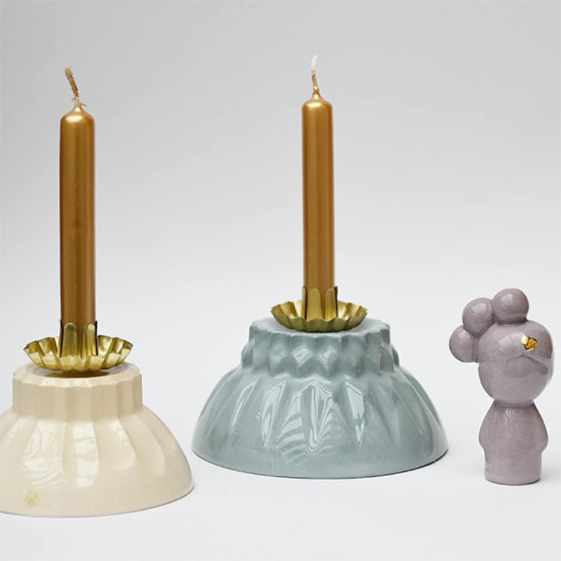 Atelier W.-collectie Candleholder 'Leave a light' blue