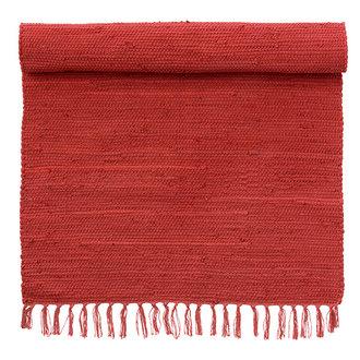 Bungalow Vloermat met franjes diep rood 60 x 90 CM