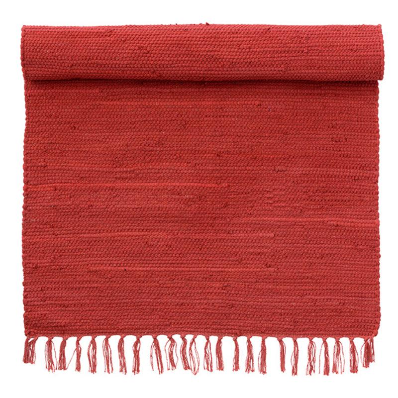 Bungalow-collectie Vloermat met franjes diep rood
