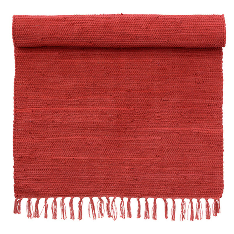 Bungalow-collectie Rug 70x130cm, Chindi mat Scarlet