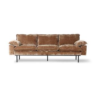 HKliving Retro sofa 3-zits bank fluweel corduroy goud