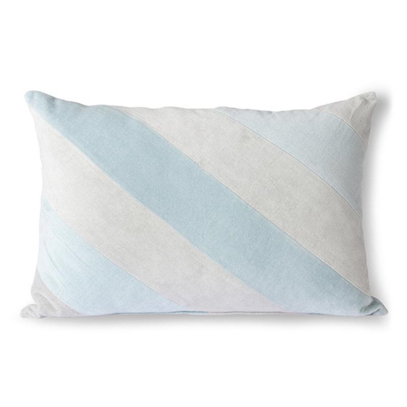 HKliving-collectie Sierkussen velvet  Stripes ijsblauw 40x60