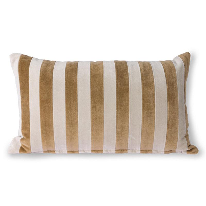 HKliving-collectie Sierkussen velvet  Stripes bruin/naturel 30x50