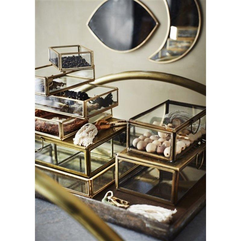 Madam Stoltz-collectie Tray glas goud - set v. 2  - 13,5x8x3 / 18x10x3